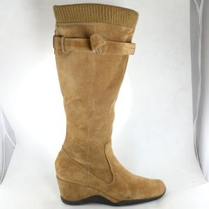 A.N.A. Halie Caramel Suede Leather Wedge Zip Boots